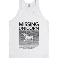 Missing Unicorn (Tank)-Unisex White Tank