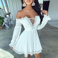 Autumn And Winter New Fashion Lace Women Solid Color Long Sleeve Dress White