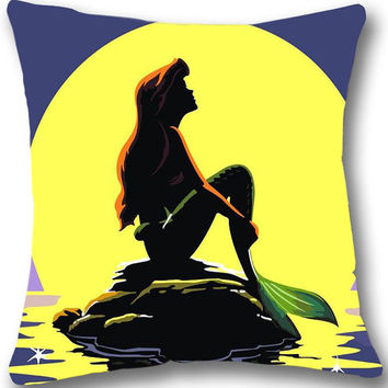Little Mermaid Silhouette Disney Pillow Big SATIN Pillow 17 by 17