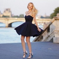 Black Strapless Mini A Line Dress