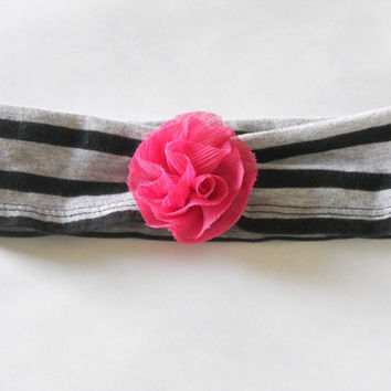 Black and Grey Baby Headband With Hot Pink Flower, Infant Headband, T-shirt Headband Baby, Jersey Headband Baby, Fabric Headband, Photo Prop