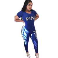 Victoria Pink Fashion New Letter Print Top And Pants Sports Leisure Two Piece Suit Blue