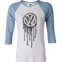 Volkswagen Bleeding Silver 3/4 Sleeve Baseball Ladies Jersey