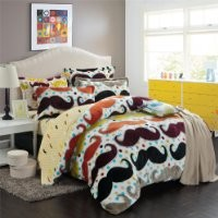 DIAIDI Home Textile,Cute Mustache Bedding Set,Flannel Bedding,Christmas Bedding Sets Queen/Twin