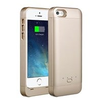 【Upgraded Version】EasyAcc® MFi 2200mAh Colorful iPhone 5 5s 5c Battery Charging Case,Rechargeable Extended Protective Battery Case for iPhone 5 5s 5c,Original Lightning Charging Plug,Golden