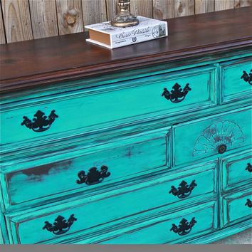 Turquoise Dresser/ Vintage/ Rustic Wood Furniture/ Buffet/ TV Stand/ Storage/ Dining Room Furniture/ Distressed /Tv stand