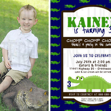 Alligator Crocodile Birthday Invitation with picture - Printable Digital file