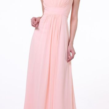 Peach Thick Strap Chiffon Dress Long Empire Bateau Neckline