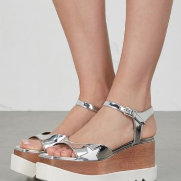 Stella McCartney Silver faux leather flatform sandals