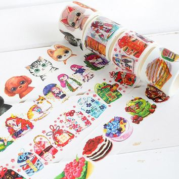 4cm*7m Cute girl animal washi tape DIY decorative scrapbooking planner masking tape adhesive tape label sticker  stationery