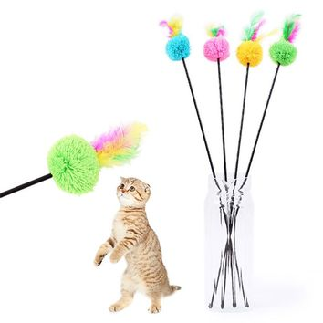 1pc/lot Plush Feather Bell Rod Toy for Cat Teaser Multi Soft Colorful Kitten Funny Playing Interactive Pet Cat Toys Dropship @40