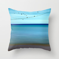 Cretan Sea & Birds II Throw Pillow by Pia Schneider [atelier COLOUR-VISION]