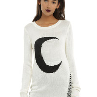 Ivory Crescent Moon Girls Sweater