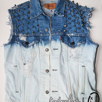 Levis Denim Vest Bleached Ombre Spikes and Studs Destroyed Jean Vest