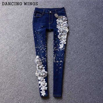 Retro Embroidery Jeans Female Flowers Sequined Diamond Skinny Pencil Pants Trousers
