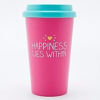 Happiness Lies Within Travel Cup in Pink - Urban Outfitters