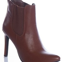 Breckelles Pointedly Posh Baylee-11 Pointed Toe Stiletto Ankle Booties - Tan