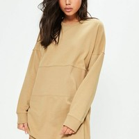 Missguided - Nude Oversized Panel Sweater Dress