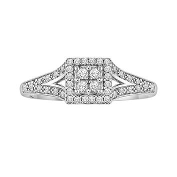 Cherish Always Round-Cut Diamond Frame Engagement Ring in 10k White Gold (1/5 ct. T.W.)