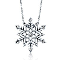 Cubic Zirconia CZ 925 Sterling Silver Snowflake Pendant Necklace #n1056