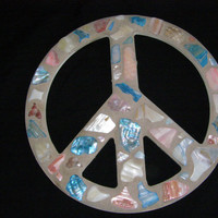 Shell Peace Sign, Red, White & Blue Abalone Shell Peace Sign, Wall Art, Peace Sign,Patriotic, Beach Decor