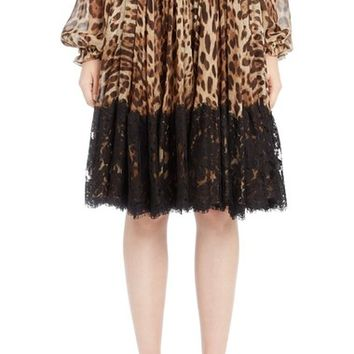 Dolce&Gabbana Lace Overlay Leopard Print Chiffon Full Skirt | Nordstrom