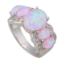 Fashion Opal rings Fina Jewelry Women's rings Pink Fire Opal Silver Filled Gift Party ring size 5 6 7 8 9 R051