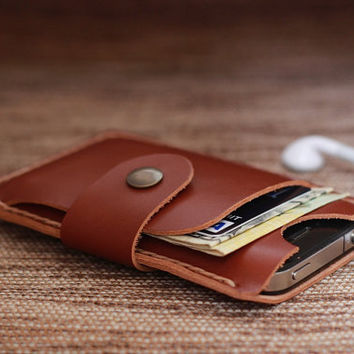 iPhone Wallet Case Mini Honey Brown Leather  4 or 4s  by JooJoobs