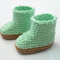light mint crocheted baby shoes, child hand crochet booties, newborn booties, kids gift, 0-12 month // S63
