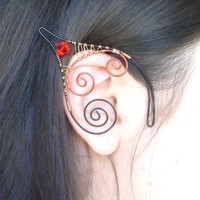 Black Red & Gold Plated Handmade Wire Wrapped Elf Ear Cuffs With Bright Red Swarovsk Bicones. Wire Weave, Pixie Ears, Elven, LARP, Cosplay