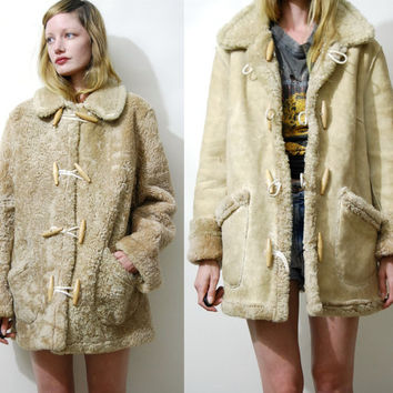 Shearling Coat 70s Vintage REVERSIBLE Duffle Coat Sheepskin Jacket Shearling Jacket Seude Leather Jacket Fur Trim Hippie Boho Wool 1970s M