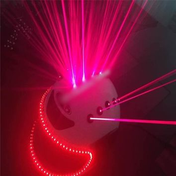 T90 Laser LED red light helmet costume ballroom dance dj helmet robot