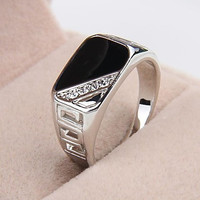 Intionix Shop Fashion Contracted Alloy Platinum Plated Black Oil Rhinestone Men's Statement Ring
