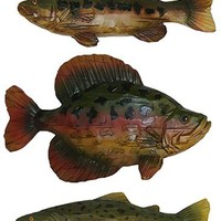 Set of 3 Fish Figures Crappie Trout Bass