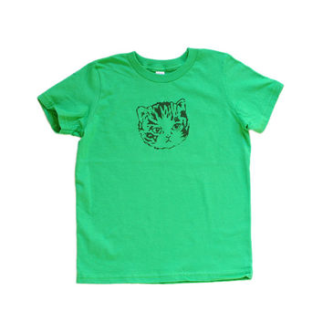 Kids Kitty Tee | Grass Green