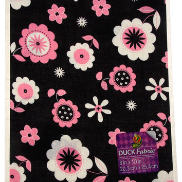 """Lot of 24 Duck Fabric Crafting Tape Sheet Black Pink Floral 8 x 10"""" Decorate DIY"""