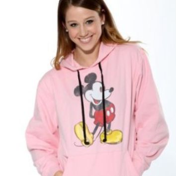 Hoodie Buddie Mickey Mouse MP3 Earbuds Pullover Sweatshirt Pink (Large)