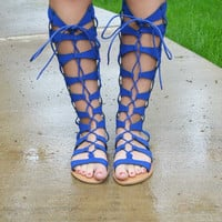 Cobalt Blue Gladiator Sandals
