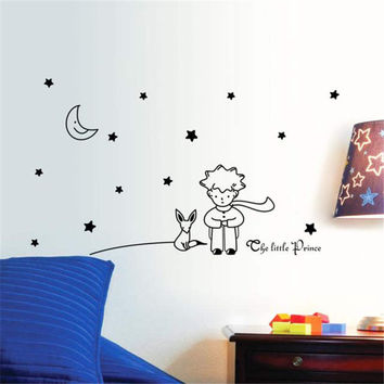 Wall Sticker Five Stars Moon The Little Prince Boy Home Decor Decals Kids Room Star Moon Wall Stickers for children 96*42CM&15