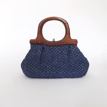 Vintage Retro 1950s 1960s Blue Gaymode Straw Purse Raffia Woven Handbag Wooden Handle Summer Clutch Boho Bag Hipster Mad Men Folk