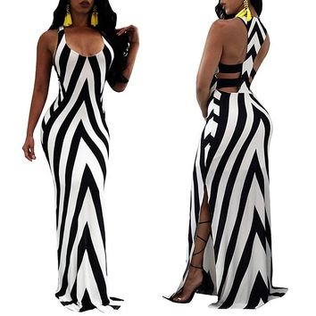 Round Neck Backless  Striped Beach Dress
