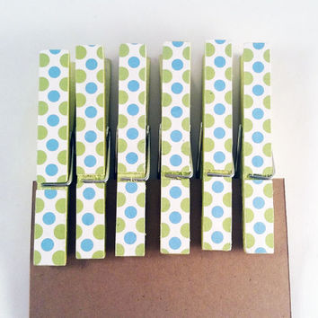 Green and Blue Polka Dots Clothespin Refrigerator Magnet Set of Six