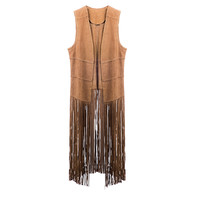 The Fringe Suede Vest | Camel