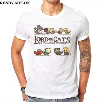 Trendy Melon Men T Shirt Furrlowship of the Ring Lord of Cats Printing Short Sleeve Casual Tees Hipster Funny Tops JAA27