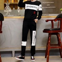 givenchy women casual fashion logo letter print long sleeve multicolor trousers set two piece sportswear