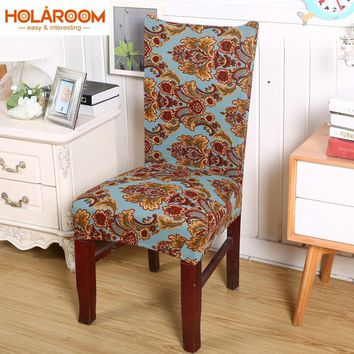 Spandex Anti-dirty Dining Chair Cover Removable Stretch Chair Covers Minimalist Floral Set Cover for Party Hotel Banquet