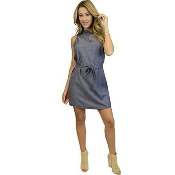 Ohconcept Collection Cotton Chambray Shift Dress