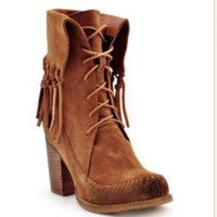 Tan Wagon Fringe Lace Up Boot