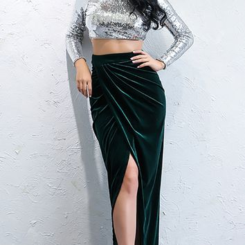 Kiss Kiss Velvet Draped High Waist Asymmetric Slit Front Maxi Skirt - 2 Colors Available