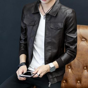 New 2018 autumn Men 's leather cultivate one' s morality, The double pocket young handsome leather jacket lapel trend